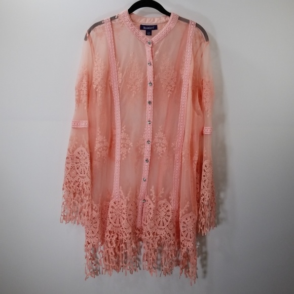 1d9ec58358c Roaman s Pink Lace Button Down Top Size 22W